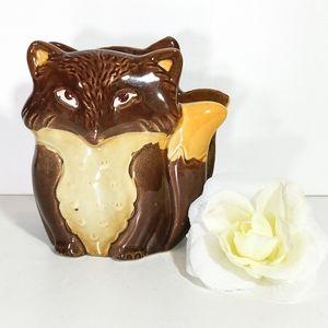 Hand Painted Ceramic Fox Napkin Holder